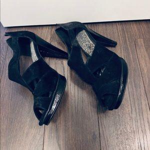Black high heel peep toe sandals. Size 9